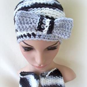 Shades of Gray Crochet hat and fing..
